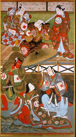 Theatre Signboard Depicting Scenes from the Play 'Nishikigi Sakae Komachi ',