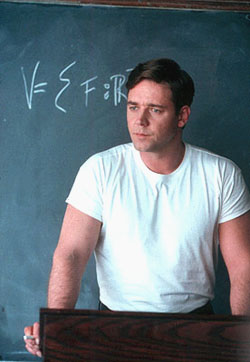 Russell Crowe as  John Forbes Nash Jr.  in A Beautiful Mind