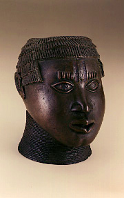 Male head • Edo peoples, Benin Kingdom, Nigeria • Copper alloy, iron • 22.2 cm (8 3/4 in.) • 82-5-2, purchased with funds provided by  • the Smithsonian Collections Acquisition Program • Photo courtesy of Smithsonian National Museum of African Art  •