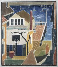 Blanche Lazzell • My Wharf Studio, 1932  • block cut 1931 • Photo courtesy of The Cleveland Museum of Art