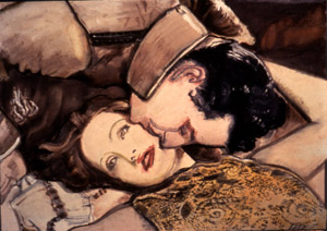 "A Vanished World: Garbo and Gilbert I 1994  • oil on canvas  • 29 ½ x 42 x 5"" • Marlborough Gallery, New York"