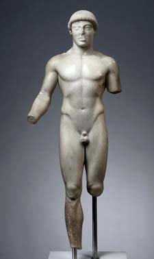 Youth of Agrigento (about 480 BC) • Agrigento  • Marble, East Greek  • Museo Archeologico Regionale di Agrigento, inv. C 1853  • [Cat. no. 72]  • Photo courtesy of The Cleveland Museum of Art