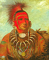 Shon-ta-yi-ga, Little Wolf, a Famous Warrior, 1844,  • George Catlin, oil on canvas • 29 x 24 in. (73.7 x 60.9 cm.), • Smithsonian American Art Museum, • Gift of Mrs. Joseph Harrison, Jr. • Photo courtesy of Smithsonian American Art Museum  •