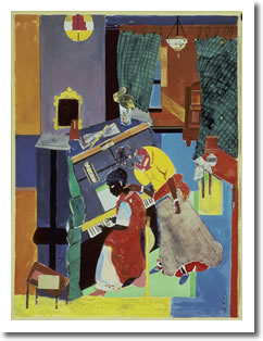Romare Bearden • Piano Lesson, 1983 • collage of various papers with paint, ink, and graphite on fiberboard 73.7 x 55.9 cm (29 x 22) • The Walter O. Evans Foundation for Art and Literature • © Romare Bearden Foundation/Licensed by VAGA, New York, NY  • Photo courtesy of National Gallery of Art