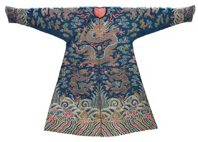 Man's semiformal court coat (jifu), (1700–25). • Photo courtesy of Museum of Fine Arts Boston