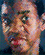 Lyle, 2002 • Chuck Close (American, born 1940) • 147-color silk screen; 65 1/2 x 53 7/8 in. (166.4 x 136.8 cm), framed  • dimensions: 68 3/8 x 57 1/4 x 2 3/4 in. (173.7 x 145.4 x 7 cm) • Edition of 80 • Printer: Brand X Editions, New York (Robert Blanton, Thomas Little) • Publisher: Pace Editions, Inc., New York • Courtesy of Pace Editions, Inc., and the artist  • Photo courtesy of The Metropolitan Museum of Art