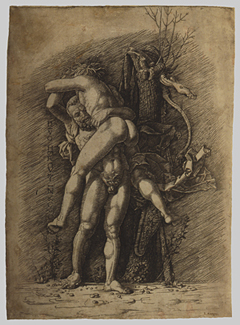 "Hercules and Antaeus, ca. 1490s • ""Premier Engraver"" after Andrea Mantegna (Italian, 1431–1506) • Engraving, outlines pricked for transfer; sheet 13 9/16 x 9 3/4 in. (34.5 x 24.8 cm) • The Metropolitan Museum of Art, New York • Rogers Fund, 1918 (18.65.3)  •   • Photo courtesy of The Metropolitan Museum of Art"