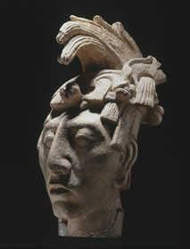 Palenque, Mexico  • Portrait head of Pakal  • AD 650-683 • Stucco  • Museo Nacional de Antropología -  • INAH, Mexico • © photo: Michael Zabé • Photo courtesy of National Gallery of Art