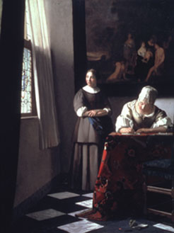 Johannes Vermeer (1632-1675) • Lady Writing a Letter with her Maidservant • Oil on canvas, 72.2 x 59.7 cm • National Gallery of Ireland, Dublin • © Courtesy of the National Gallery of Ireland • Photo courtesy of Bruce Museum