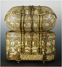 Box with Ivory Incrustations and Naskhi Inscription Egypt, 12th/13th centuryIvory with wood, black mastix, gilded bronze, 39 x 40 x 23,5 cm Palermo, Treasury of the Cappella PalatinaPhoto courtesy of Kunsthistorisches Museum