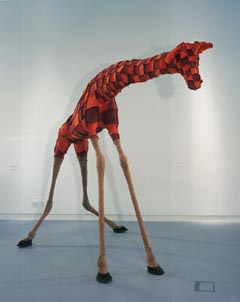 Laura Ford, Giraffe, 1998 • Courtesy of Houldsworth London,  • and Arts Council Collection, •  Hayward Gallery, London  • Photo courtesy of Institute of Contemporary Arts, London