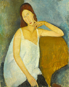 Amedeo Modigliani (Italian, 1884 - 1920) • Jeanne Hébuterne, 1919 • Oil on canvas • 36 x 28 3/4in. (91.4 x 73 cm) • The Metropolitan Museum of Art, New York • Gift of Mr. and Mrs. Nate B. Spingold, 1956  • Photo courtesy of The Jewish Museum