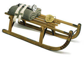 Joseph Beuys: • Schlitten (Sled), 1969 • Wooden sled, felt, straps, flashlight, fat, stamped in oil • 133/4 x 357/16 x 133/4 inches • Photo courtesy of the Menil Collection •  •