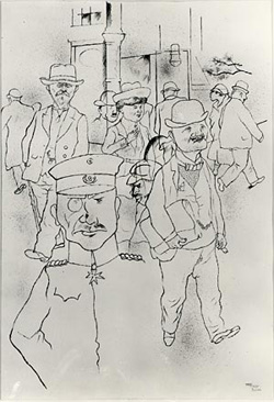 George Grosz (American, born Germany, 1893–1959) •  • Berlin Street Scene, 1920 •  • Pen and ink on paper; 20 3/4 x 14 in. (52.7 x 35.6 cm)< BR> •  • The Metropolitan Museum of Art, New York •  •   • Gift of Priscilla A. B. Henderson, in memory of her grandfather, Russell Sturgis, a founder of The Metropolitan Museum of Art, New York, 1950 • Photo courtesy of  • The Metropolitan Museum of Art