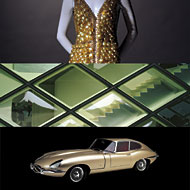 Top: Paco Rabanne Gown, ca. 1965 • Collection Rita Watnick, Michael Stoyla—Lily et Cie  • (Photo: Margaret, Rita, and Baby Jane) • Middle: Herzog and de Meuron, Prada Boutique, Tokyo, 2003 • (photo: Todd Eberle)  • Bottom: Jaguar E-Type Coupe, 1961 (photo: Ron Kimball) • Photo courtesy of San Francisco Museum of Modern Art