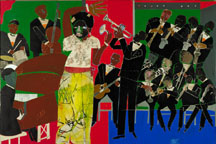 Romare Bearden • Empress of the Blues, 1974 • Acrylic, pencil and printed paper<BR. • Smithsonian American Art Museum • Purchase in part through the Luisita L. and Franz H. Denghausen Endowment • Photo courtesy of Long Beach Museum of Art  •