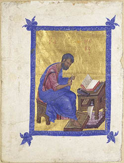 Saint Mark, Unknown  • Byzantine, Constantinople, about 1300 • Tempera colors and gold leaf on parchment  • 7 9/16 x 5 11/16 in.<BR. • MS. 70, VERSO •  • Photo courtesy of J. Paul Getty Museum •  •