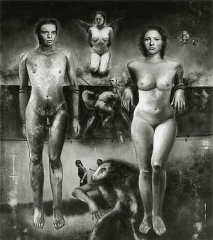 Hugo Crosthwaite:<NBR> • Guerra # 2 (Adam and Eve)</i> • 24 x 18 inches, 1998, Graphite on Mylar • Photo courtesy of ArtSpace Virginia Miller Galleries