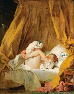 Jean-Honoré Fragonard (1732-1806)<EM>Jeune fille faisant danser son chien sur son lit, dit à tort La Gimblette</EM>Oil on canvas; 89 x 70 cmMunich, Alte Pinakothek, loan from the HVB-Group Photo courtesy of Réunion des musées nationaux