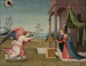 Master of Serumido<EM>The Annunciation</EM> c. 1525-1530Oil on wood70 x 91.4 cmNational Gallery of Canada, OttawaBequest of Mrs. Jeanne Taschereau Perry, Montreal, 1965Photo courtesy of National Gallery of Canada, Ottawa