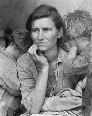 Dorothea Lange, (1895-1965)<EM>Migrant Mother, Nipomo, California</EM> (SDMA)Gelatin silver print, 193613 1/2 x 10 1/2 in. (34.3 x 26.7 cm)Oakland Museum of California, City of Oakland, the Dorothea Lange Collection, gift of Paul S. TaylorPhoto courtesy of San Diego Museum of Art