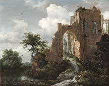 Jacob Isaacksz. van Ruisdael, (Dutch, active Haarlem and Amsterdam, 1628/29-1682)<EM>A Ruined Entrance Gate of Brederode Castle, </EM>c. 1655Oil on panel11 7/8 x 14 7/8 inchesPhiladelphia Museum of Art: John G. Johnson Collection, 1917Photo courtesy of Philadelphia Museum of Art