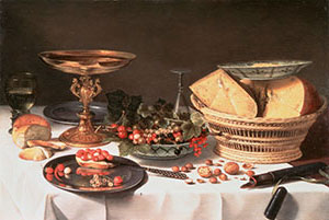 <P>Pieter Claesz:<EM>Fruit Still Life with Basket of Cheese</EM>, c.1624-1625oil on panel50 x 73 cm (19 11/16 x 28 3/4 in.) Private collection, on loan to the Frans Hals Museum, Haarlem</P>