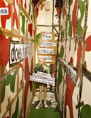 Thomas Hirschhorn:<EM>Utopia, Utopia = One World, One War, One Army, One Dress</EM>Photo courtesy of Institute of Contemporary Art