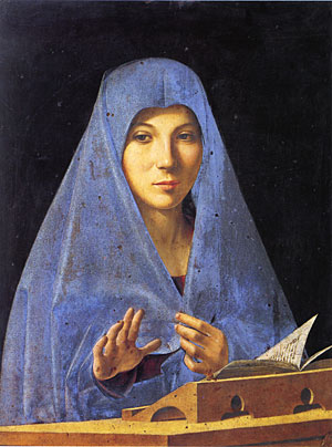 Antonello da Messina (Italian, ca. 1430–1479)<EM>The Virgin Annunciate</EM>Oil on panel; 13 5/8 x 17 3/4 in. (34.5 x 45 cm)Galleria Regionale della Sicilia, Palermo Photo courtesy of Metropolitan Museum of Art