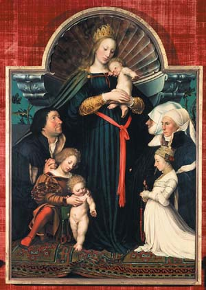 Hans Holbein the Younger<EM>The Madonna with Basel Mayor Jakob Meyer and His Family</EM>1525.Oil on panel Courtesy of Hessische Hausstiftung Photo courtesy of Portland Art Museum