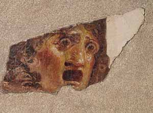 <EM>Fragment of Theatre Mask of Tragedy</EM>Fresco33 cm high, max width 31 cmProvenance:Castellamare di Stabia, Varano hill, Villa AriannaFirst century A.D.Photo courtesy of San Diego Museum of Art