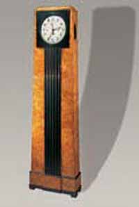 Berlin<EM>Long Case Clock</EM>, ca. 1820.Milwaukee Art Poplar burr veneer, ebonized pear. Milwaukee Art Museum Gift of René von Schleinitz Memorial Fund, by exchange. Photography by Lois Lammberhuber, Vienna.Photo courtesy of Milwaukee Art Museum