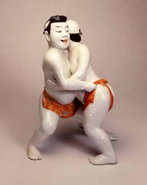 Two Wrestlersc.1670/85Japan, Kakiemon stylePorcelainHeight: 30.7 cmPhoto courtesy of Burghley House