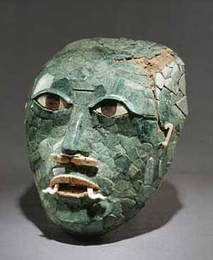 Funerary Mask, 200–600Mexico, Campeche, Calakmul, Structure II-DJadeite, shell, obsidian; 7 1/2 x 5 7/8 in. (19.1 x 14.9 cm)Museo Histórico Fuerte San Miguel, Baluarte de San Miguel, Campeche Photo courtesy of Metropolitan Museum of Art