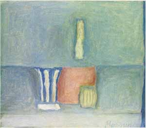 "<P class=MsoNormal style=""MARGIN: 0in 0in 0pt""><FONT face=""Times New Roman""><SPAN style=""FONT-SIZE: 11pt"">Giorgio Morandi </SPAN><SPAN lang=EN-GB style=""FONT-SIZE: 11pt; mso-ansi-language: EN-GB"">(1890-1964)<?xml:namespace prefix = o ns = ""urn:schemas-microsoft-com:office:office"" /><o:p></o:p></SPAN></FONT></P> • <P class=MsoNormal style=""MARGIN: 0in 0in 0pt""><FONT face=""Times New Roman""><I style=""mso-bidi-font-style: normal""><SPAN lang=EN-GB style=""FONT-SIZE: 11pt; mso-ansi-language: EN-GB"">Still Life</SPAN><SPAN lang=EN-GB style=""FONT-SIZE: 11pt; mso-ansi-language: EN-GB"">, 1961<o:p></o:p></SPAN></FONT></P> • <P class=MsoNormal style=""MARGIN: 0in 0in 0pt""><SPAN lang=EN-GB style=""FONT-SIZE: 11pt; mso-ansi-language: EN-GB""><FONT face=""Times New Roman"">Oil on canvas, 30 x 35 cm<o:p></o:p></FONT></SPAN></P> • <P class=MsoNormal style=""MARGIN: 0in 0in 0pt""><SPAN lang=EN-GB style=""FONT-SIZE: 11pt; mso-ansi-language: EN-GB""><FONT face=""Times New Roman"">Private collectionPhoto courtesy of Estorick Collection of Modern Italian Art<o:p></o:p></FONT></SPAN></P>"