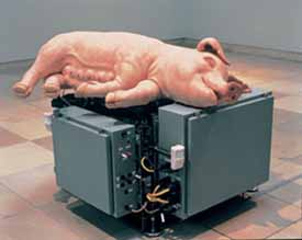 Paul McCarthy: <EM>Mechanical Pig</EM>, 2005Silicone, platinum, fiberglass, metal, electrical components 101,6x147,3x157,5 cmPhoto courtesy of Palazzo Grassi