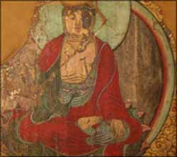 Wall painting fragment of Buddha <EM>Shakyamuni</EM> Preaching (ink and colour on clay, mounted on masonite)Ming dynasty (AD 1368 - 1644)Painter unknownGeorge Crofts CollectionPhoto courtesy of Royal Ontario Museum