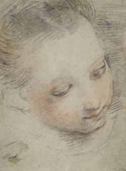 Federico Barocci, Italian, 1535 – 1612<EM>Head of Girl, Study for a Figure in the Madonna del Popolo</EM>Altarpiece in the Uffizi, ca. 1575-79Black and red chalk, heightened and corrected with whitechalk, with touches of yellow pastel9 15/16 x 7 1/2 in.Maitlan F. Griggs, B.A. 1896, FundPhoto courtesy of The John & Mable Ringling Museum of Art