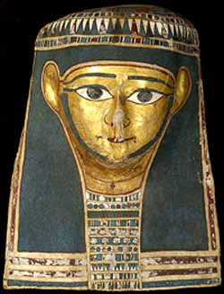 Ptolemaic Period, 32nd Dynasty 332–30 BCE 'Mummy mask' plastered, painted and gilded linen Department of Egyptian AntiquitiesMusée du Louvre, ParisPhotograph © Christian Décamps, Musée du Louvre, ParisPhoto courtesy of National Gallery of Australia