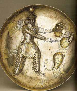 Sassanid king Shapur III (reigned 383-388) shown spearing a leopard, fourth centuryHermitage Museum, St PetersburgPhoto courtesy of Musée Cernuschi