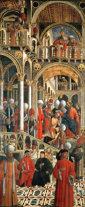 Giovanni Mansueti (Italian, 1484–1526)St. Mark Baptizing Anianus, Venice, ca. 1518Oil on canvas; 128 x 53 1/8 in. (325 x 135 cm)Pinacoteca di Brera, Milan Photo courtesy  of The Metropolitan Museum of Art