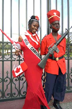 Camille Turner, <EM>Miss Canadiana in Dakar, Senega</EM>l, performance, courtesy of the artist, 2005Photo courtesy of Justina M. Barnicke Gallery