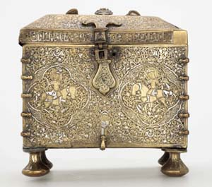 Rectangular casket with the remains of a combination lockIraq, Jazira, 1200-50 ADSheet brass, with silver inlay20.5 x 19.5 x 16 cmPhoto courtesy of The Khalili Collections