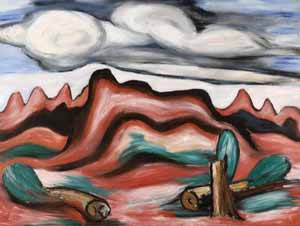 Marsden Hartley: <EM>New Mexico Recolleciton No. 13</EM>, c. 1923Oil on canvas, 30 x 40 inCollection of Eric and Debbie GreenPhoto courtesy of Amon Carter Museum