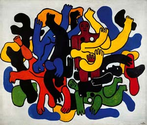 <P>Fernand Léger<EM>Les grands plongeurs noirs</EM>, 1944<EM>The Big Black Divers</EM>Oil on canvas, 189 x 221 cmMusée national d'art moderne / Centre de création industrielle, Centre Pompidou, Paris, datio 1982© 2008, ProLitteris, ZurichPhoto courtesy of La Fondation Beyeler </P>