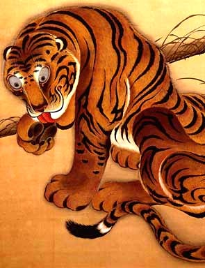 Ito Jakuchu (1716–1800), <EM>Tiger</EM>, 1755, hanging scroll, colors on silk, 51 1/16 x 28 in. (129.7 x 71.0 c), Etsuko and Joe Price Collection.