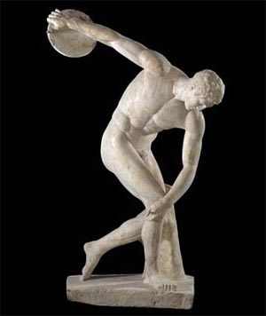 "Discobolus (discus-thrower)Roman copy of a bronze original of the 5th century BCfrom <SPAN class=yshortcuts id=lw_1216457290_0 style=""CURSOR: hand; BORDER-BOTTOM: #0066cc 1px dashed"">Hadrian</SPAN>'s Villa in TivoliLazio, ItalyPhoto courtesy of British Museum<!-- type = image -->"