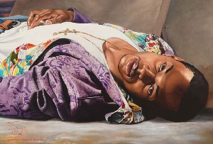 <P>Kehinde Wiley: <EM>Down</EM> (detail)Photo courtesy of Deitch Projects </P> • <P> </P>