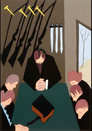 <DIV class=caption align=left><EM>For forty years, John Brown reflected on the hopeless and miserable condition of the slaves,</EM> 1978Screenprint, edition 50/60Collection of Derrick JohnsonPhoto courtesy of Virginia Museum of Fine Arts </DIV>