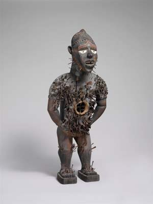 <DIV id=tombstone> • <P><STRONG>Mangaaka Power Figure (<EM>Nkisi N'Kondi</EM>)</STRONG>Democratic Republic of Congo or Angola,<EM> </EM>Chiloango River Region; Kongo; second half of the 19th centuryWood, paint, metal, resin, ceramic; H. 46 7/16 in. (118.0 cm)The Metropolitan Museum of Art, New York, Purchase, Lila Acheson Wallace, Laura and James J. Ross, Daniel and Marian Malcolm, Robert T. Wall, Jeffrey B. Soref, Sidney and Bernice Clyman, and Steven M. Kossak Gifts, 2008 (2008.30)</P></DIV> • <DIV id=maintext> • <H5 class=subtitle>Curator Comment</H5> • <P>The author of this Kongo personification of power—among the most impressive sculptural creations from sub-Saharan Africa—sought to inspire awe, to intimidate, and to evoke a power without bounds. Conceived to house specific mystical forces, Kongo power figures were the collaborative creations of sculptors and ritual specialists. This work belongs to the most ambitious class of that tradition. It is one of only twenty such figures more than a meter high identified with the preeminent force of jurisprudence, Mangaaka.The sculptor gives visual expression to an ideal of unrivaled and assertive force as a presiding authority and enforcing lord. The crowning element is the distinctive headdress worn by chiefs or priests. The figure's posture and gesture—leaning forward arms akimbo—constitute the aggressive attitude of one who challenges fearlessly. There are also vestiges of an abdominal cavity for medicinal matter that originally attracted the figure's defining force. The various metals embedded in the expansive torso attest to the figure's central role as witness and enforcer of affairs critical to its community. They document vows sealed, treaties signed, and efforts to eradicate evil. Ultimately, this work inspired reflection on the consequences of transgressing established codes of social conduct.Alisa LaGamma, curator, Department of Arts of Africa, Oceania, and the Americas</P></DIV>